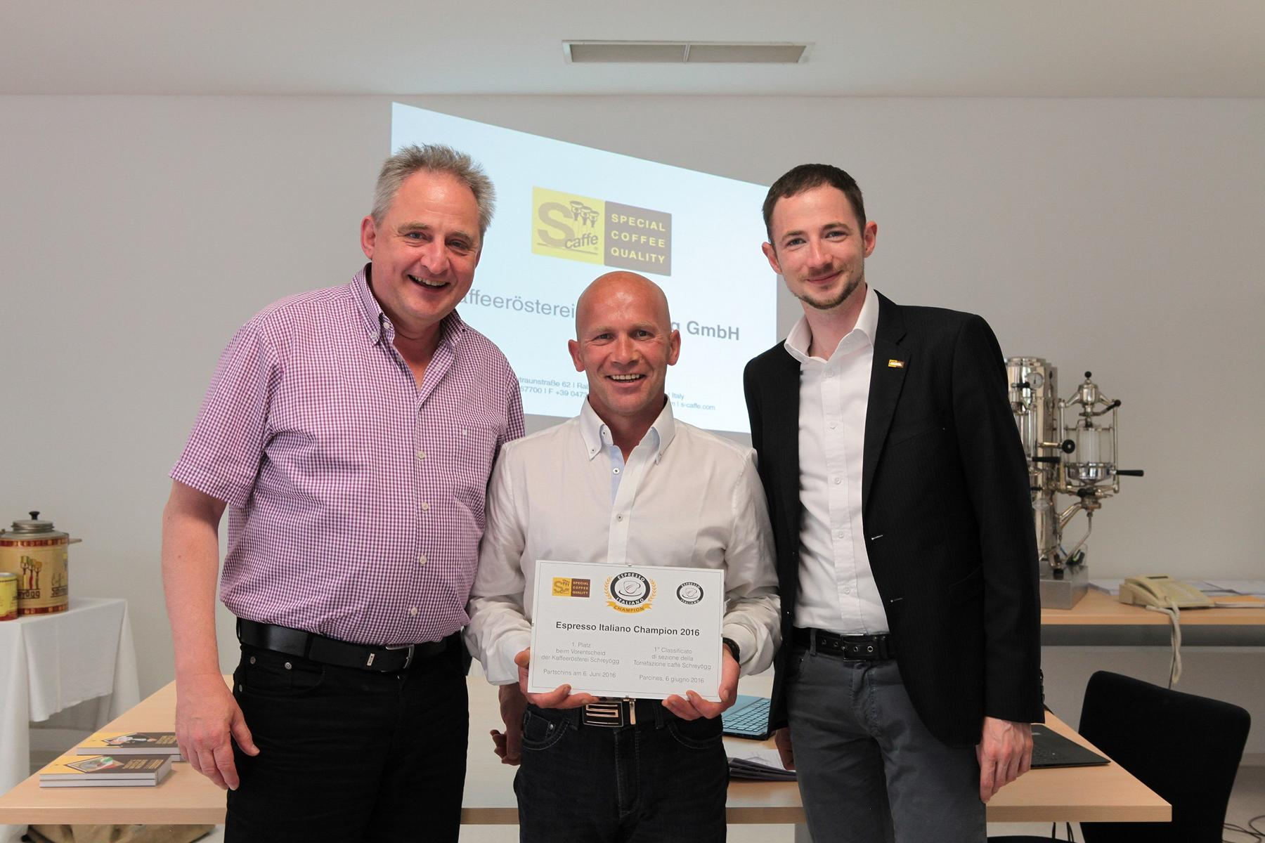 Engelbert Schweigl vince la gara preliminare di Espresso Italiano Champion 2016 ospitata da Torrefazione Caffè Schreyoegg